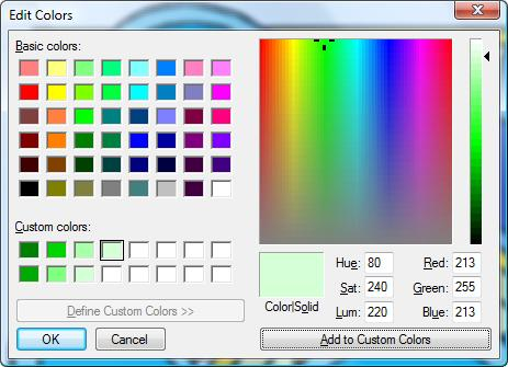 Edit Colors dialog box (Microsoft Paint)