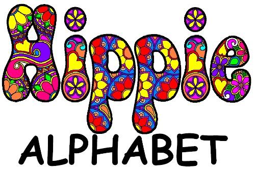 ClickNColour Colouring in Coloring Artwork Downloads Hippie Alphabet