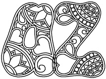 Download, print, color-in, colour-in Hippie Lowercase Pack
