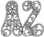 Download, print, color-in, colour-in Hippie Uppercase Pack
