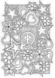 Download, print, color-in, colour-in Page 23 - peace,stars,flowers