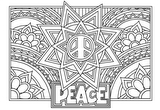Download, print, color-in, colour-in Page 35 - Peace, star, flowers