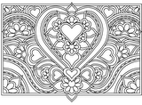 Download, print, color-in, colour-in Page 38 - Heart and Flowers