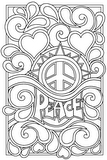 Download, print, color-in, colour-in Page 4 - Peace, Spikes, Hearts