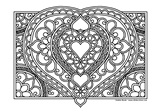 Download, print, color-in, colour-in Page 41 Large Heart and Flowers