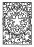 Download, print, color-in, colour-in Page 47 Middle Star in Circle