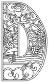 Download, print, color-in, colour-in Uppercase D