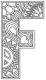 Download, print, color-in, colour-in Uppercase F