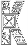 Download, print, color-in, colour-in Uppercase K