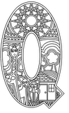 Download, print, color-in, colour-in Uppercase Q