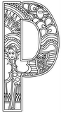 Download, print, color-in, colour-in lowercase p 2