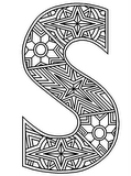 Download, print, color-in, colour-in lowercase s 2