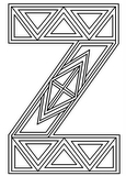 Download, print, color-in, colour-in lowercase z